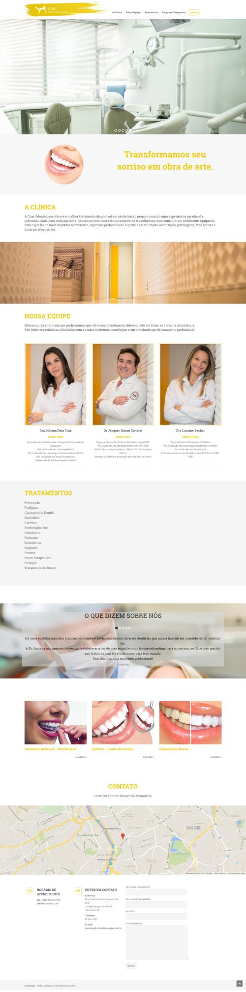 Criação de sites para Médicos Chai Odontologia
